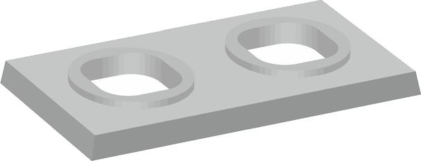 Dvouprůduchové komínové krycí desky s hranatými otvory