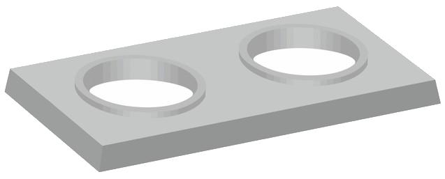 Dvouprůduchové komínové krycí desky s kruhovými otvory
