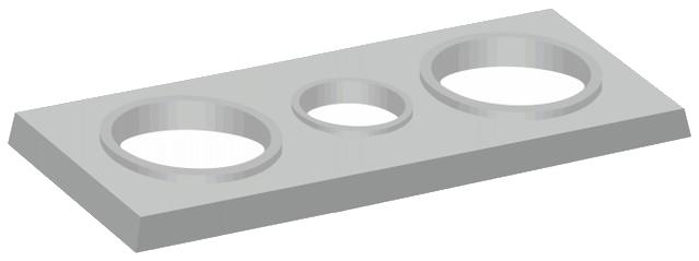 Tříprůduchové komínové krycí desky s kruhovými otvory